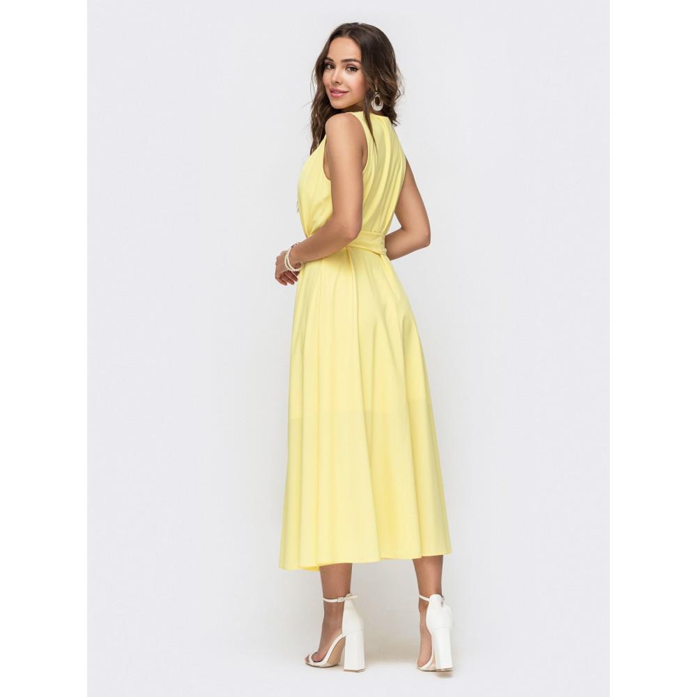 Желтое летнее платье-миди Славия фото 3