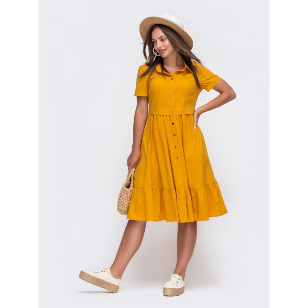 Горчичное платье-рубашка Сания фото 1
