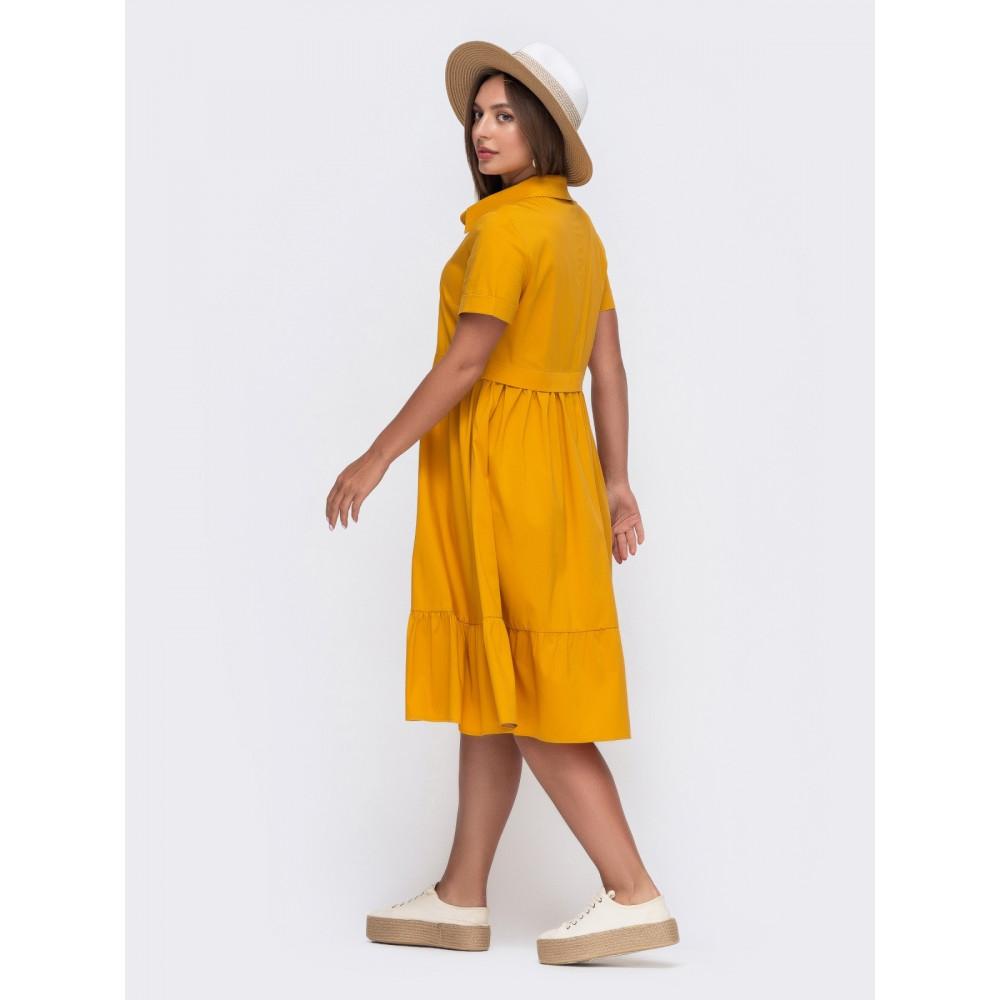 Горчичное платье-рубашка Сания фото 2