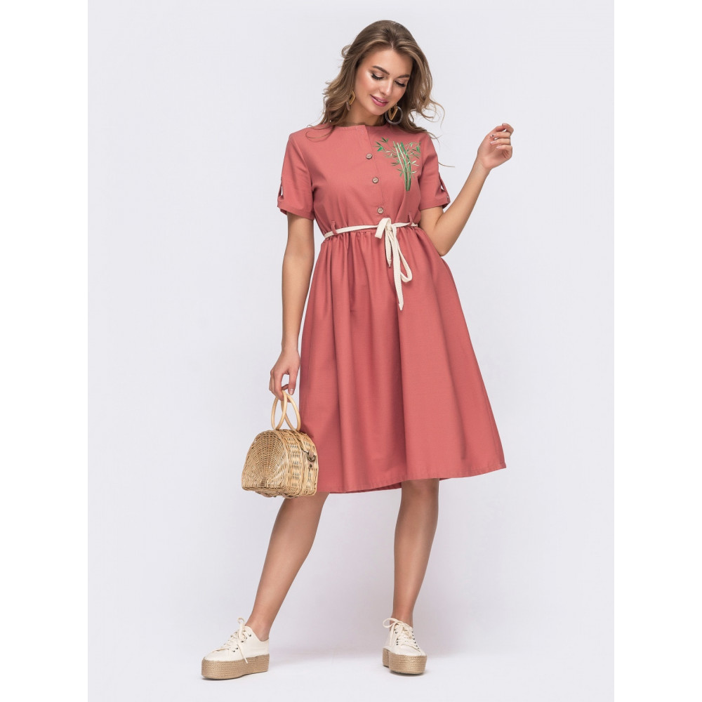 Коралловое льняное платье с вышивкой Илария фото 1