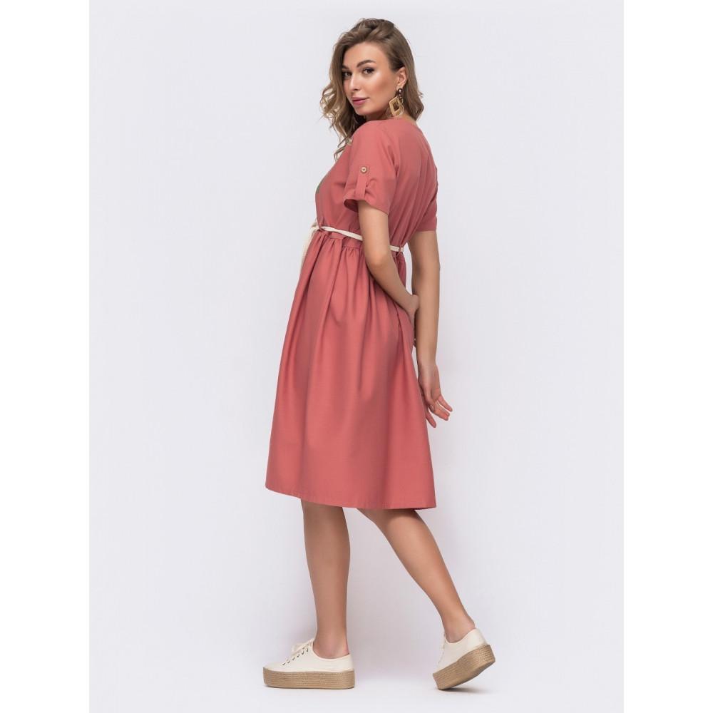 Коралловое льняное платье с вышивкой Илария фото 2