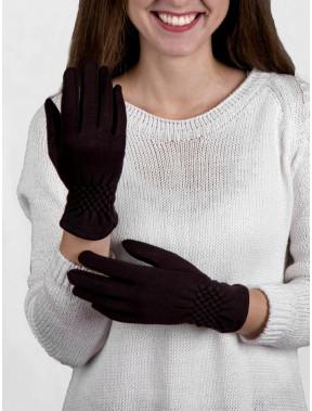 Черные перчатки с интересным манжетом и сенсором
