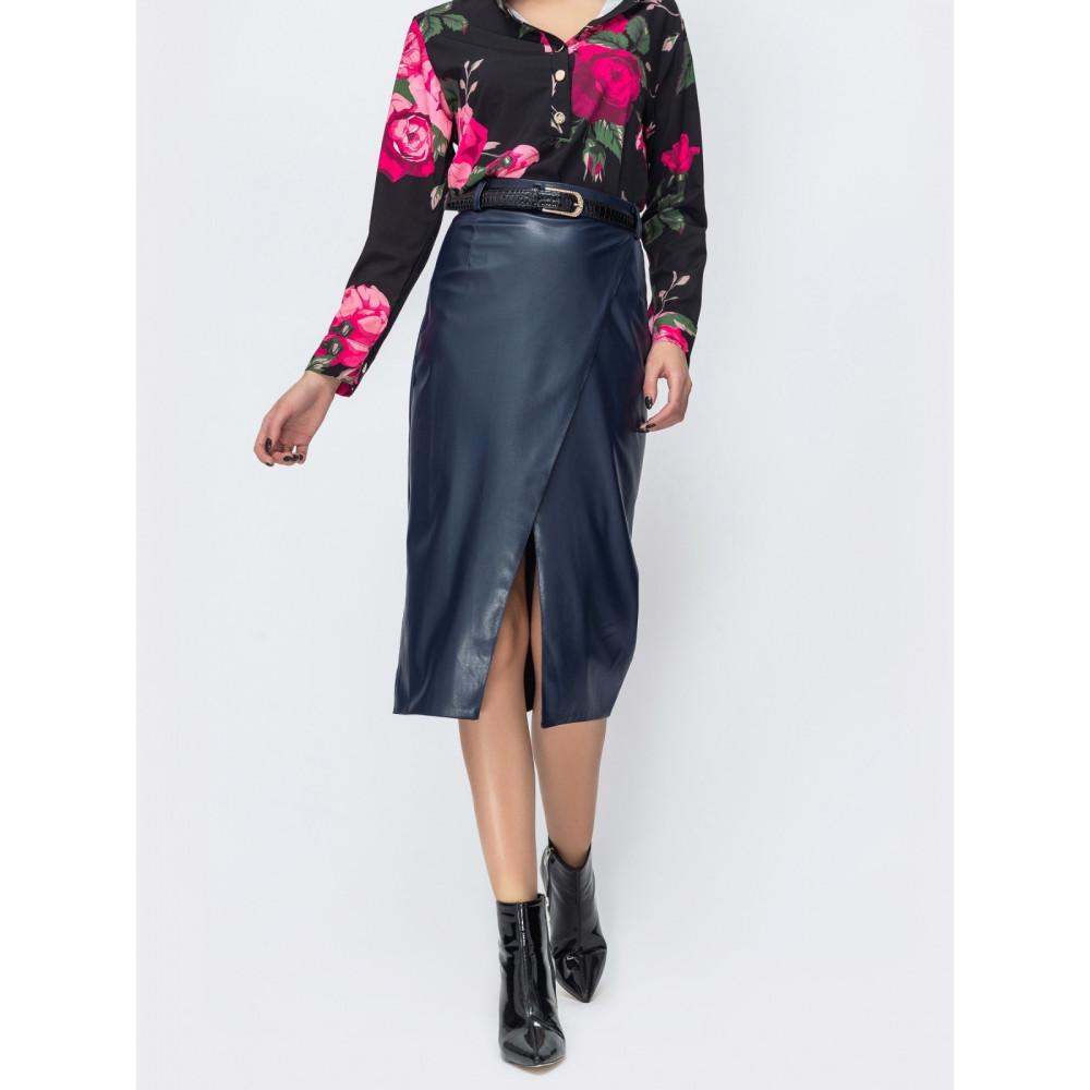 Женская юбка прямого кроя на запАх фото 1
