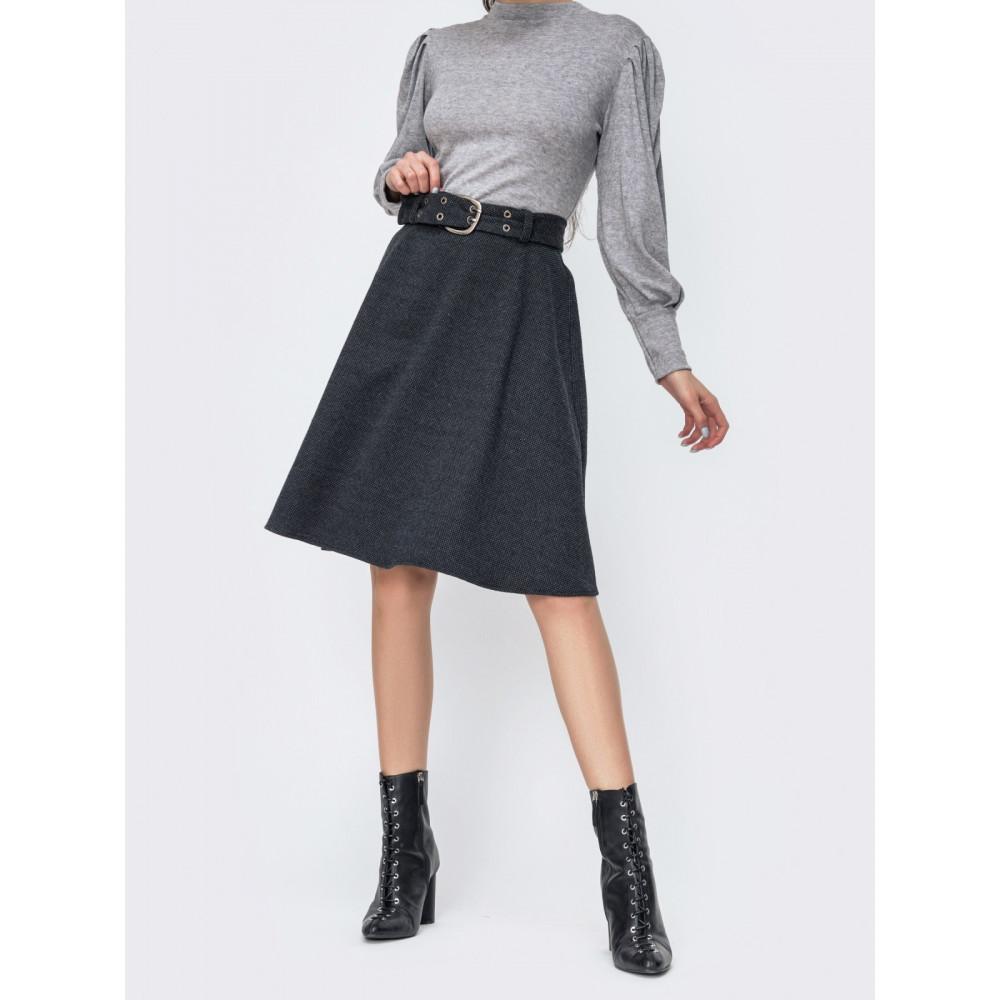 Милая расклешенная юбка с поясом фото 1