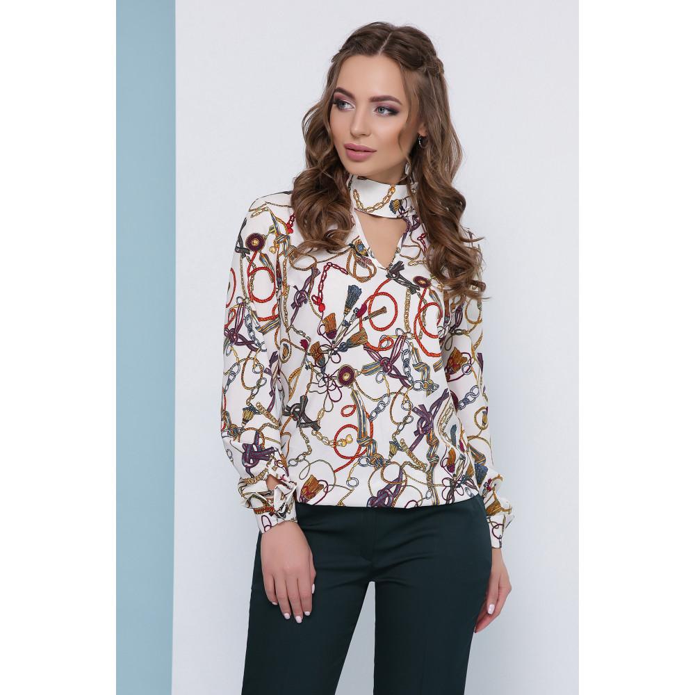 Нарядная белая блузка с чокером фото 1