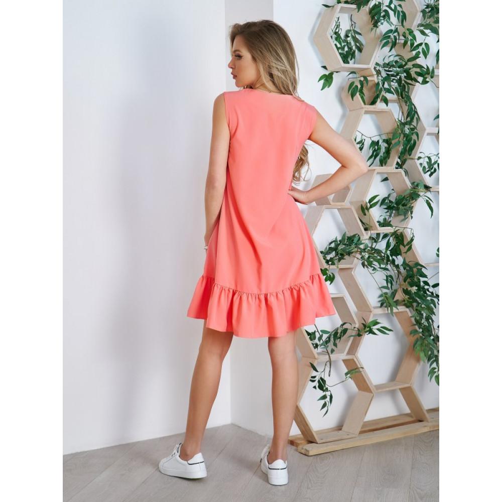 Коралловое платье-трапеция  фото 2