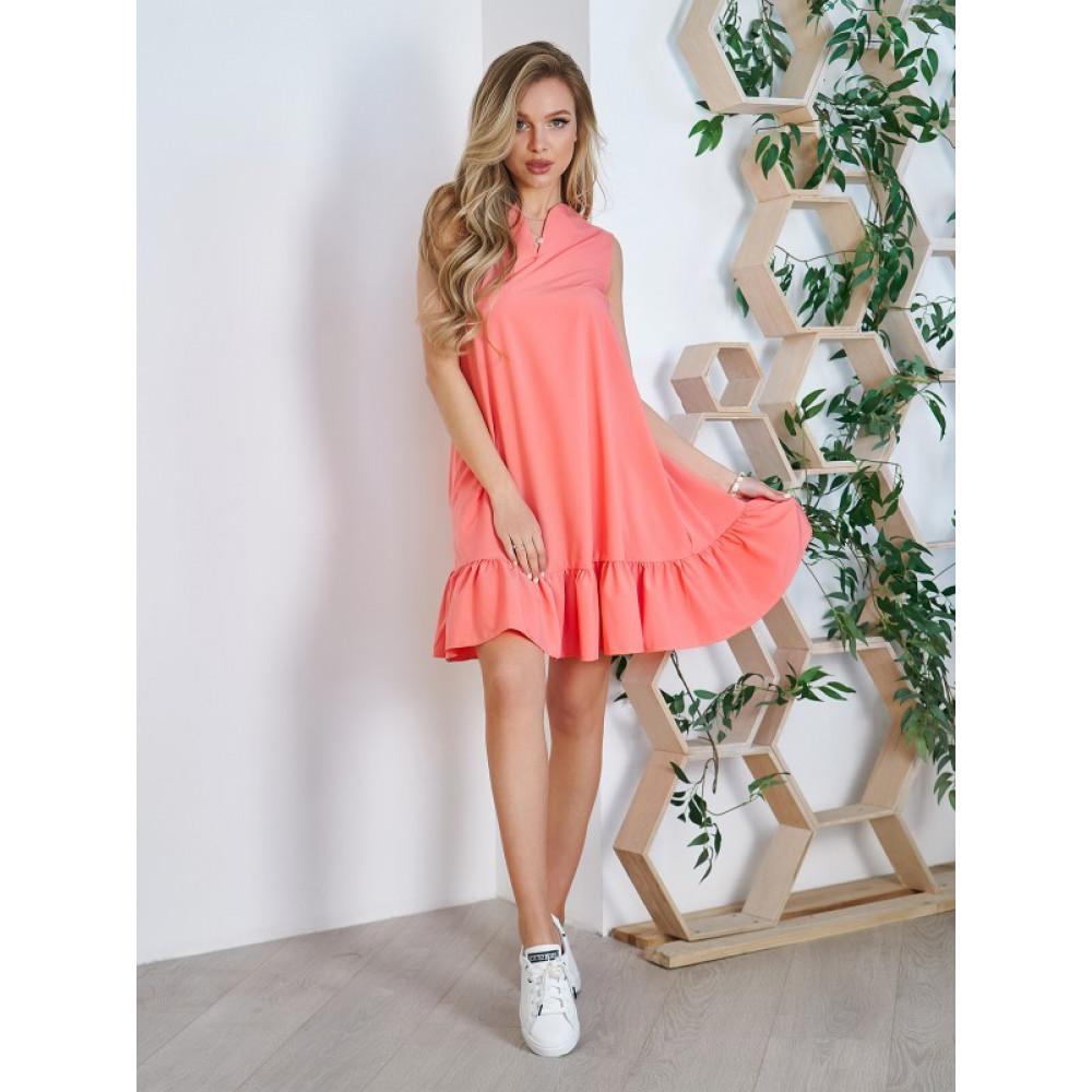 Коралловое платье-трапеция  фото 1
