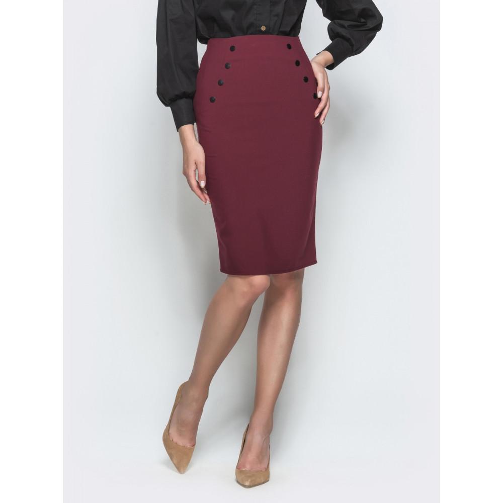Бордовая юбка-карандаш с кнопками фото 1