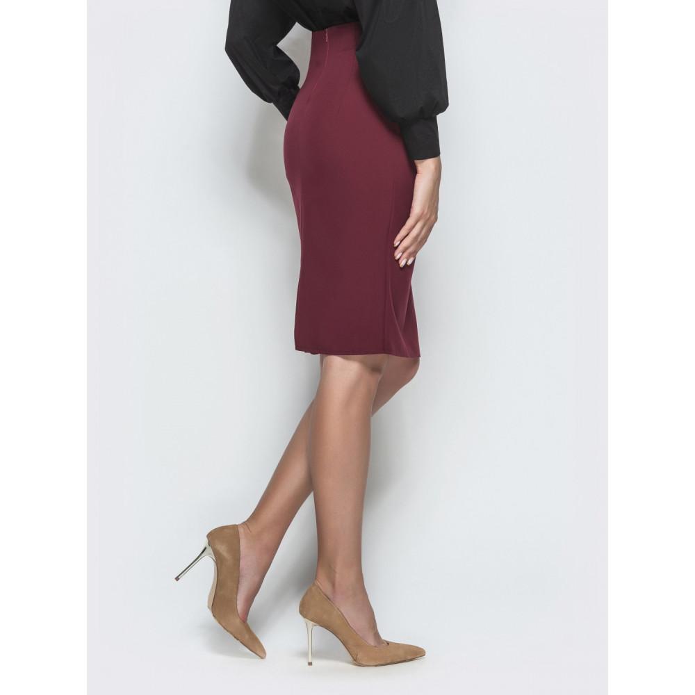 Бордовая юбка-карандаш с кнопками фото 2