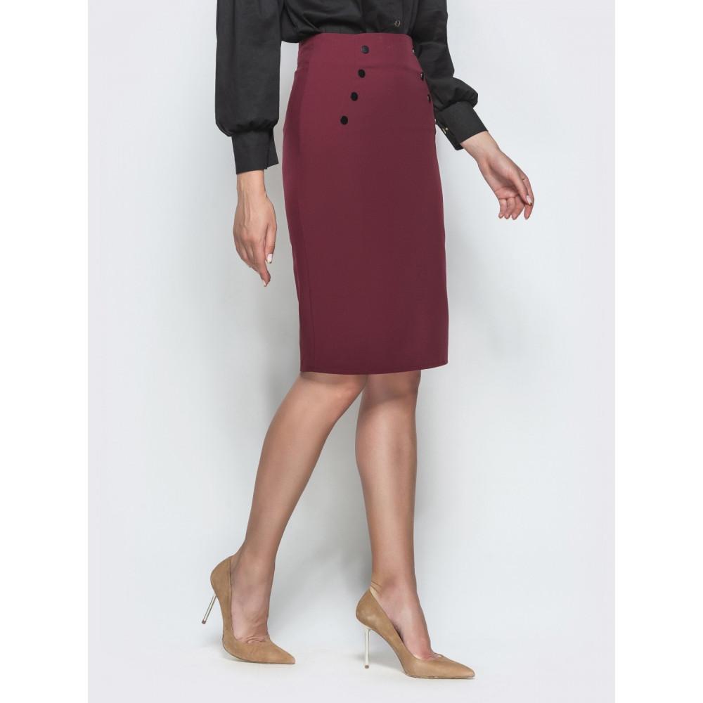 Бордовая юбка-карандаш с кнопками фото 3