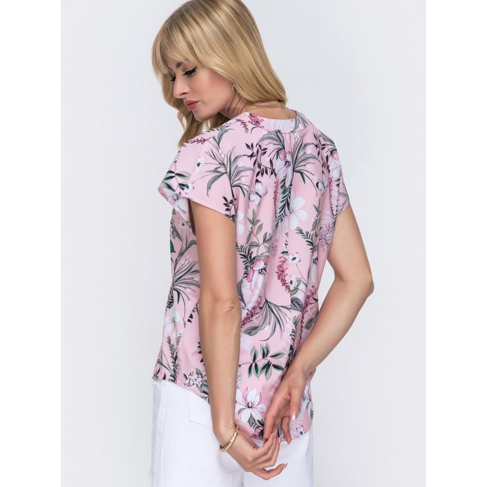 Блузка из нежного софта с цветочным рисунком фото 2