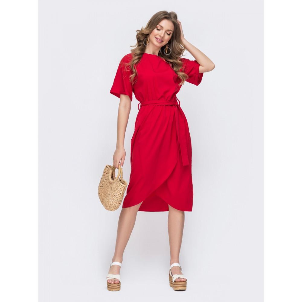 Красное платье с юбкой на запАх фото 1