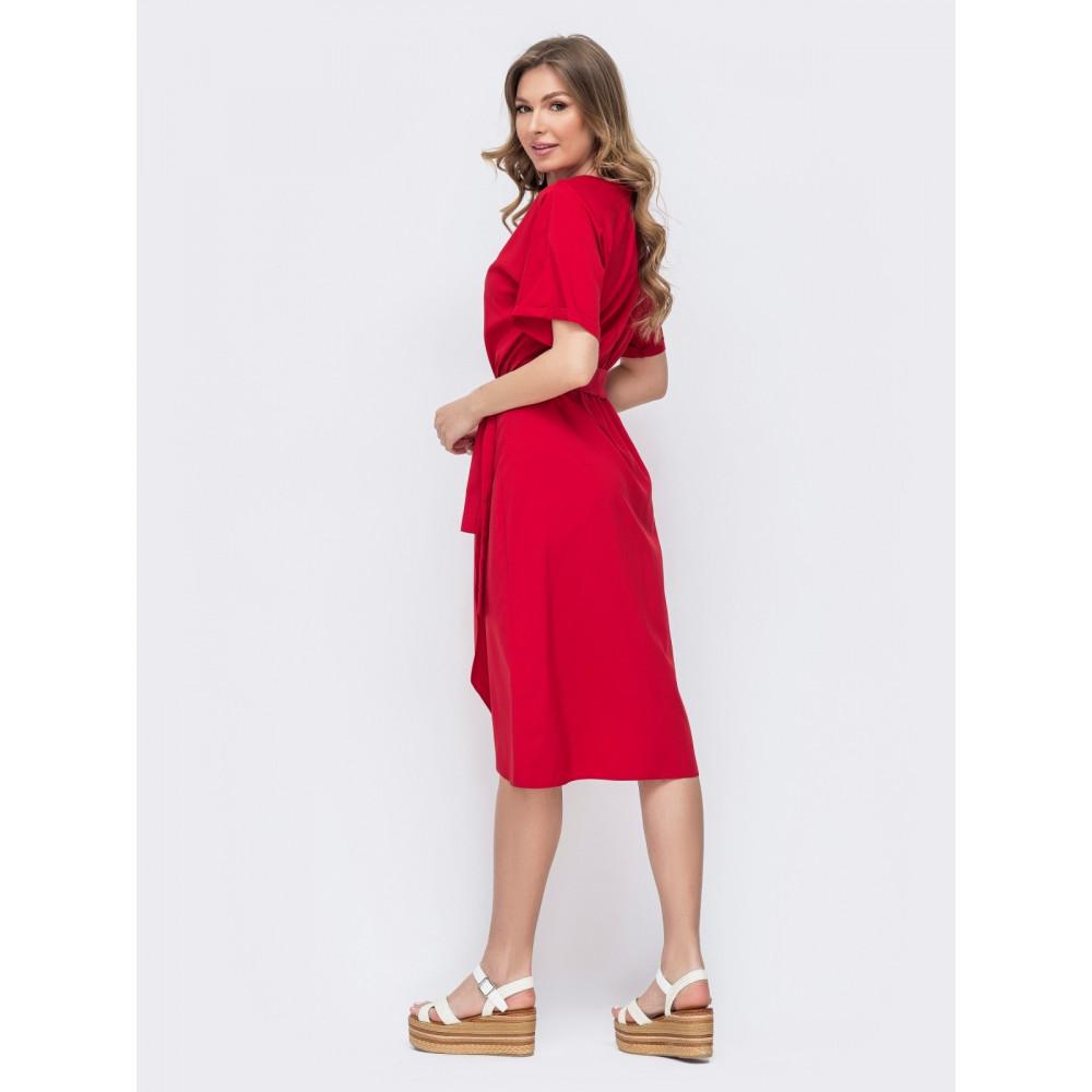 Красное платье с юбкой на запАх фото 2