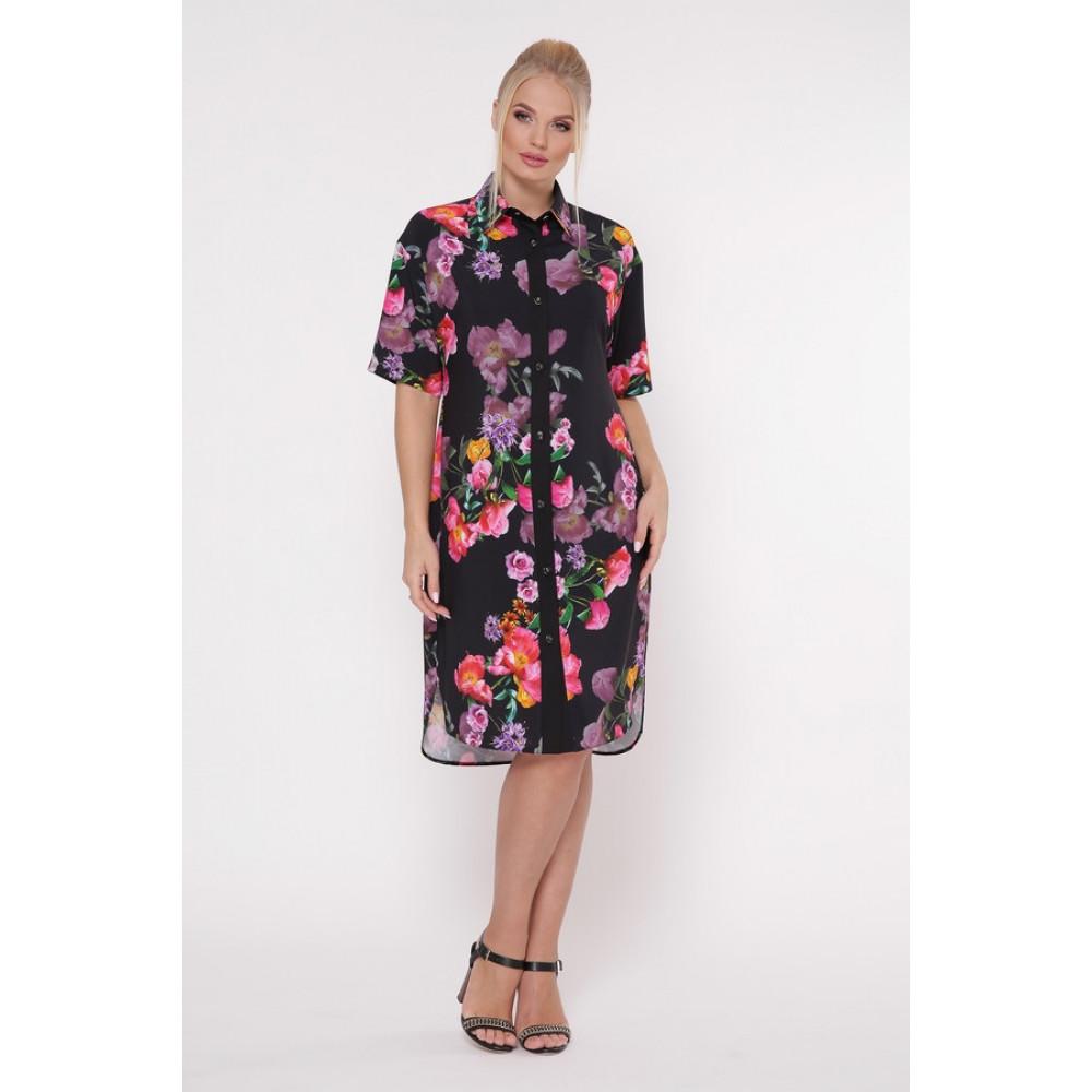 Интересное цветочное платье-рубашка Сати фото 1