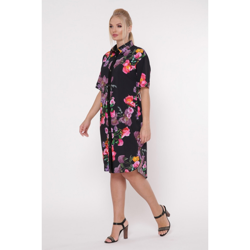 Интересное цветочное платье-рубашка Сати фото 2