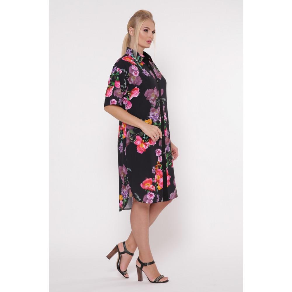 Интересное цветочное платье-рубашка Сати фото 3