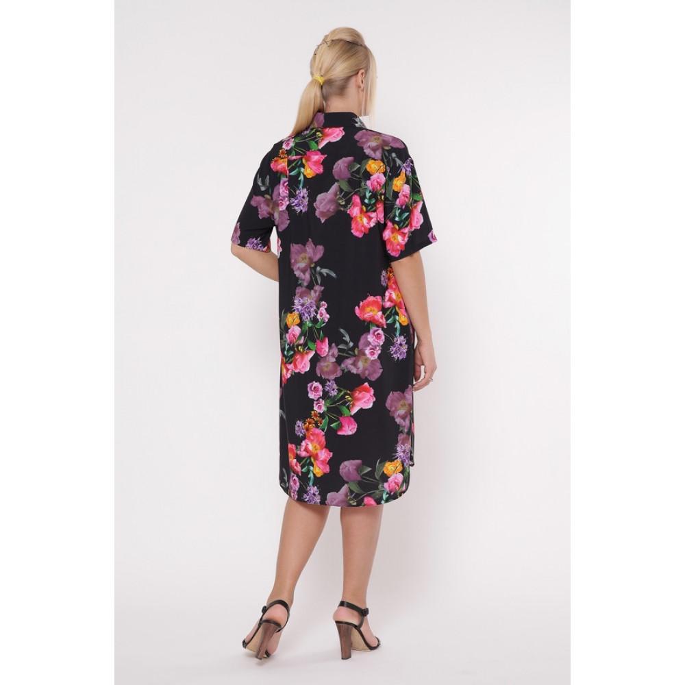 Интересное цветочное платье-рубашка Сати фото 4