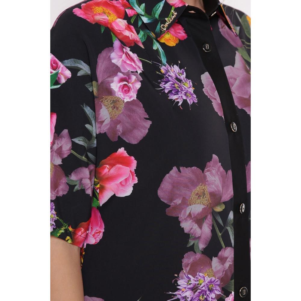 Интересное цветочное платье-рубашка Сати фото 5