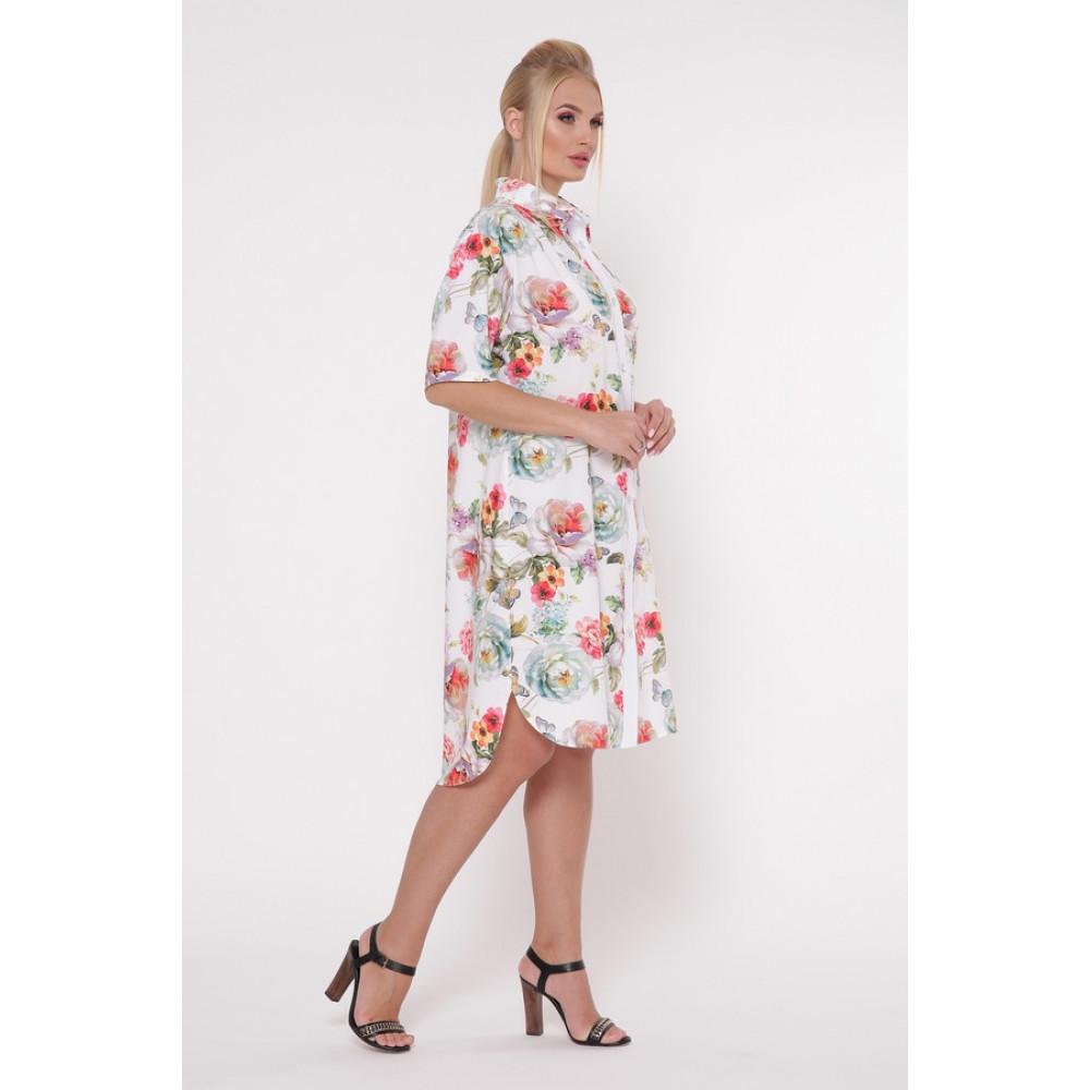 Волшебное платье-рубашка в цветы Сати фото 4