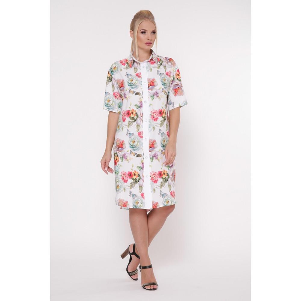 Волшебное платье-рубашка в цветы Сати фото 1