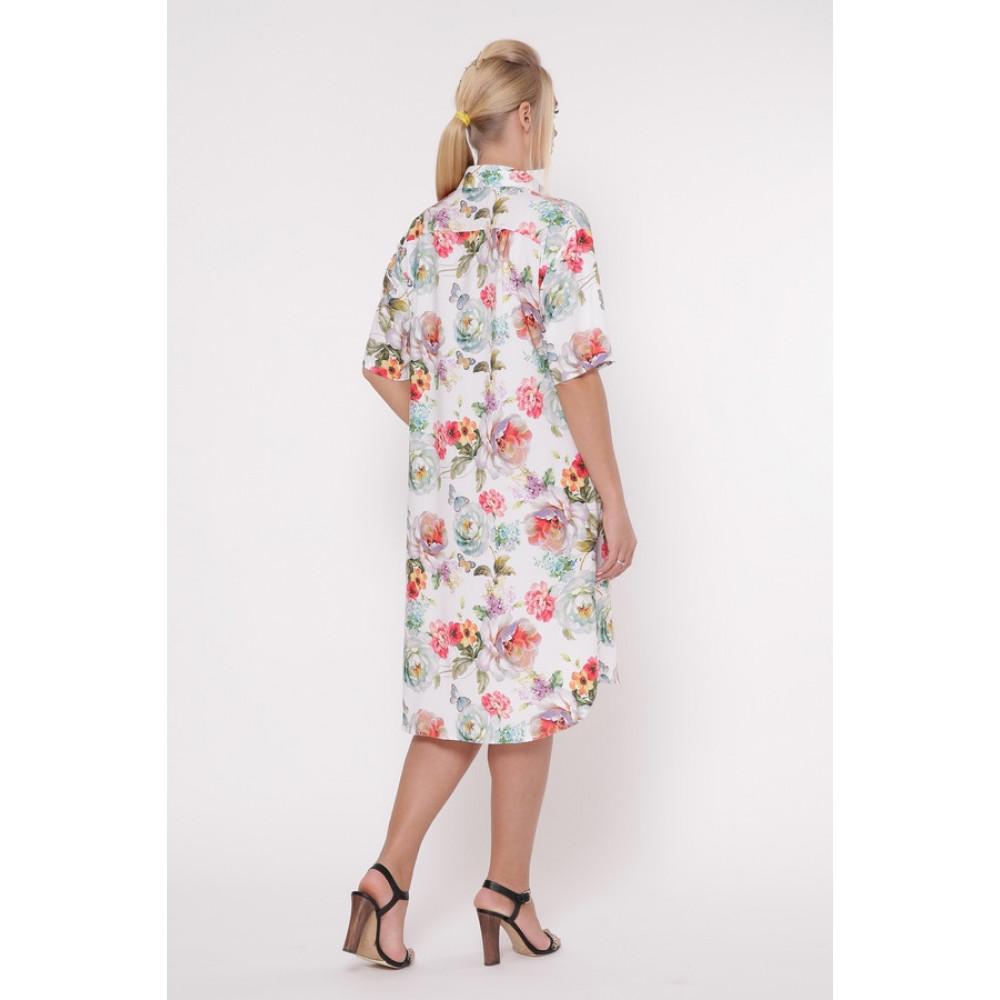 Волшебное платье-рубашка в цветы Сати фото 2