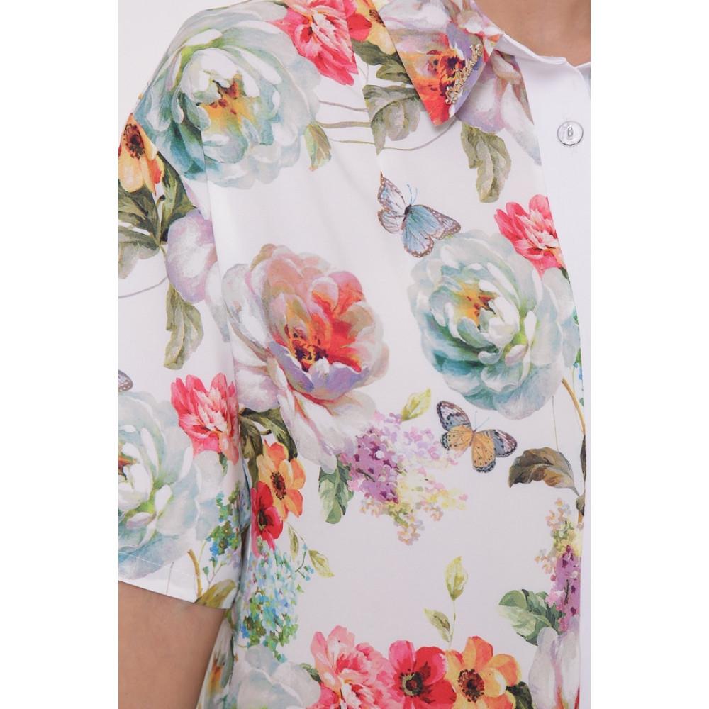 Волшебное платье-рубашка в цветы Сати фото 3