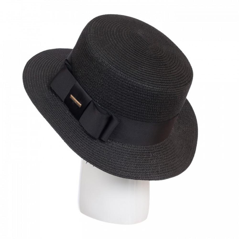 Милая черная шляпа-канотье фото 1