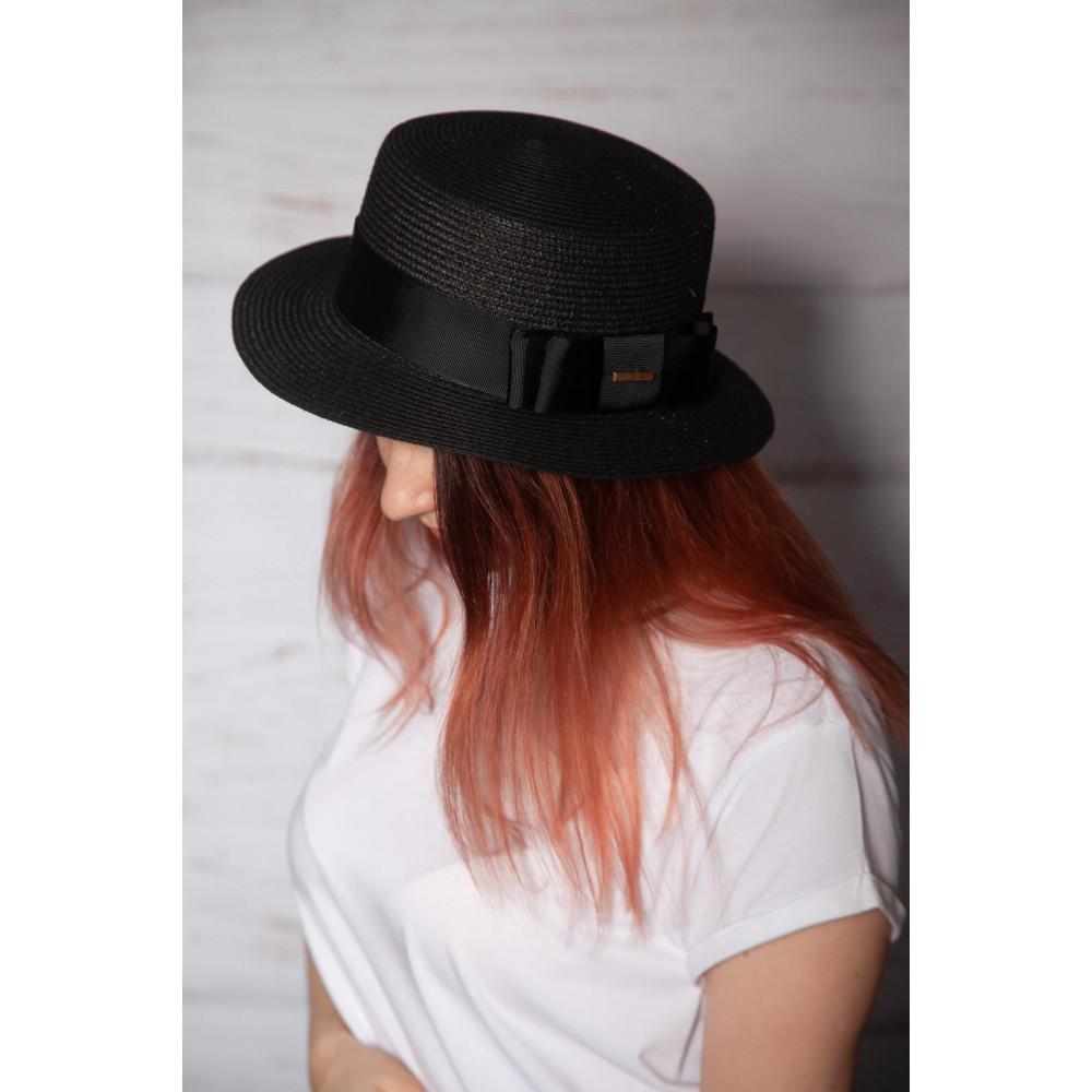 Милая черная шляпа-канотье фото 2
