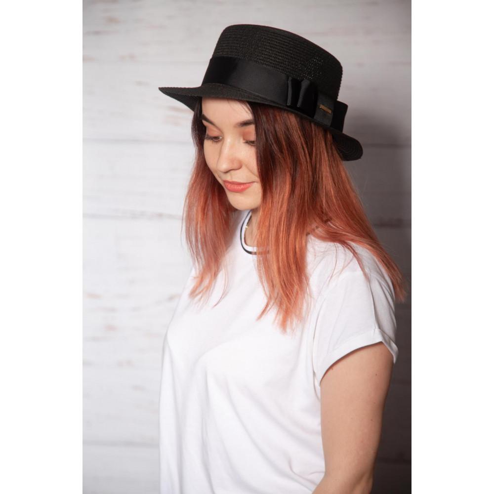 Милая черная шляпа-канотье фото 3