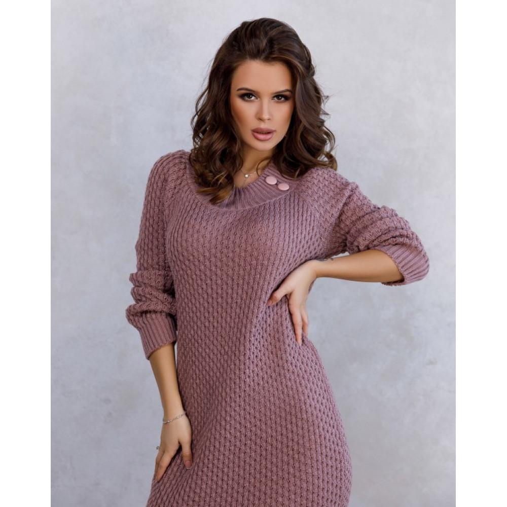 Вязаное розовое платье с нежным узором фото 2