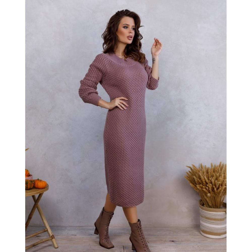 Вязаное розовое платье с нежным узором фото 4