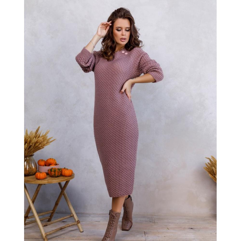 Вязаное розовое платье с нежным узором фото 1