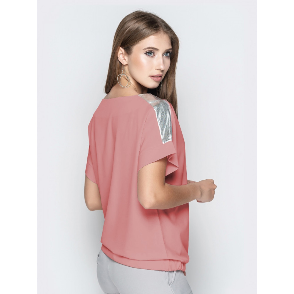 Блузка с цельнокроеным рукавом с кулиской фото 2