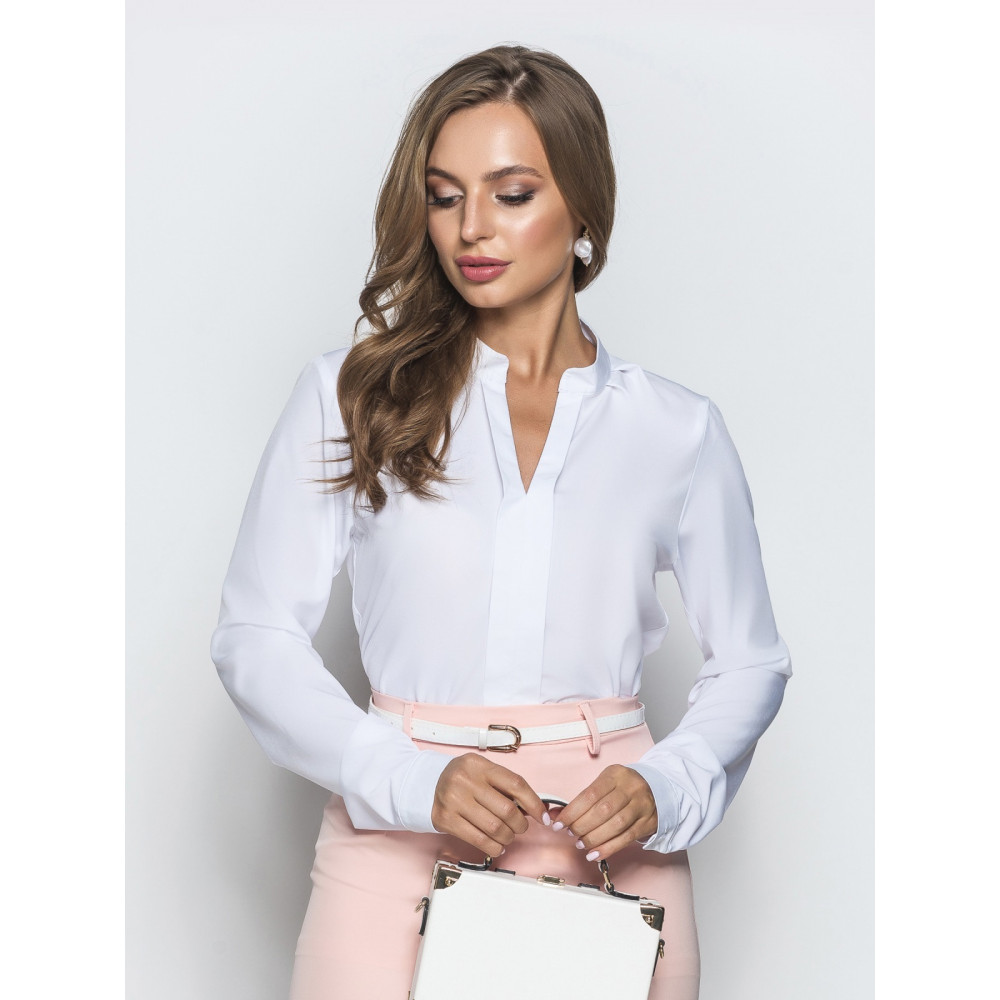 Белая блузка с воротником стойка фото 1