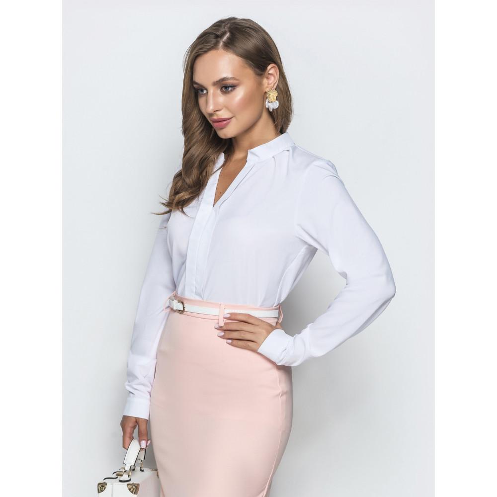 Белая блузка с воротником стойка фото 2