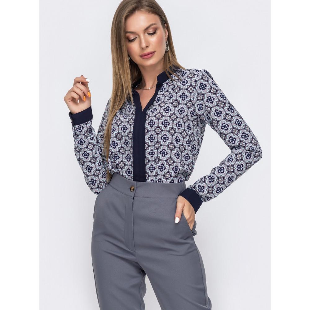 Женская блузка с окантовкой по вырезу фото 1
