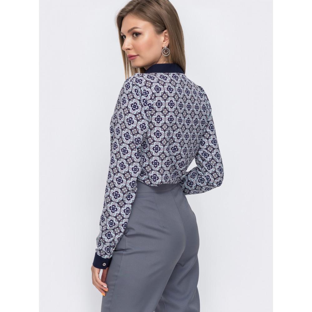Женская блузка с окантовкой по вырезу фото 2