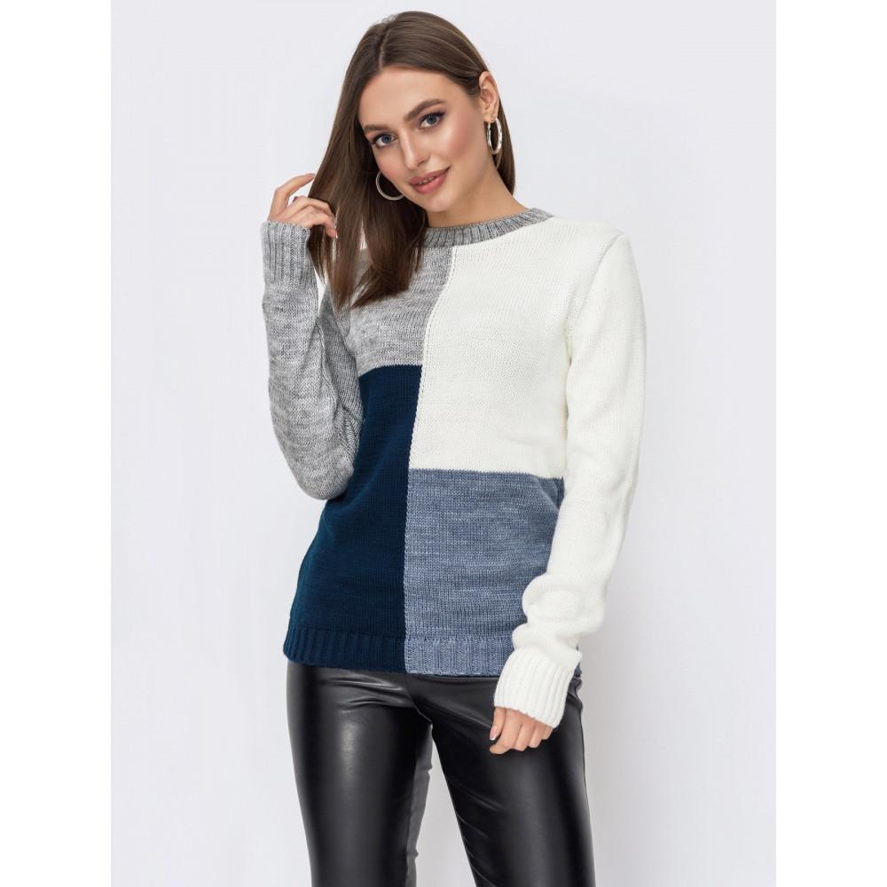 Комбинированный вязаный свитер Фрея фото 1