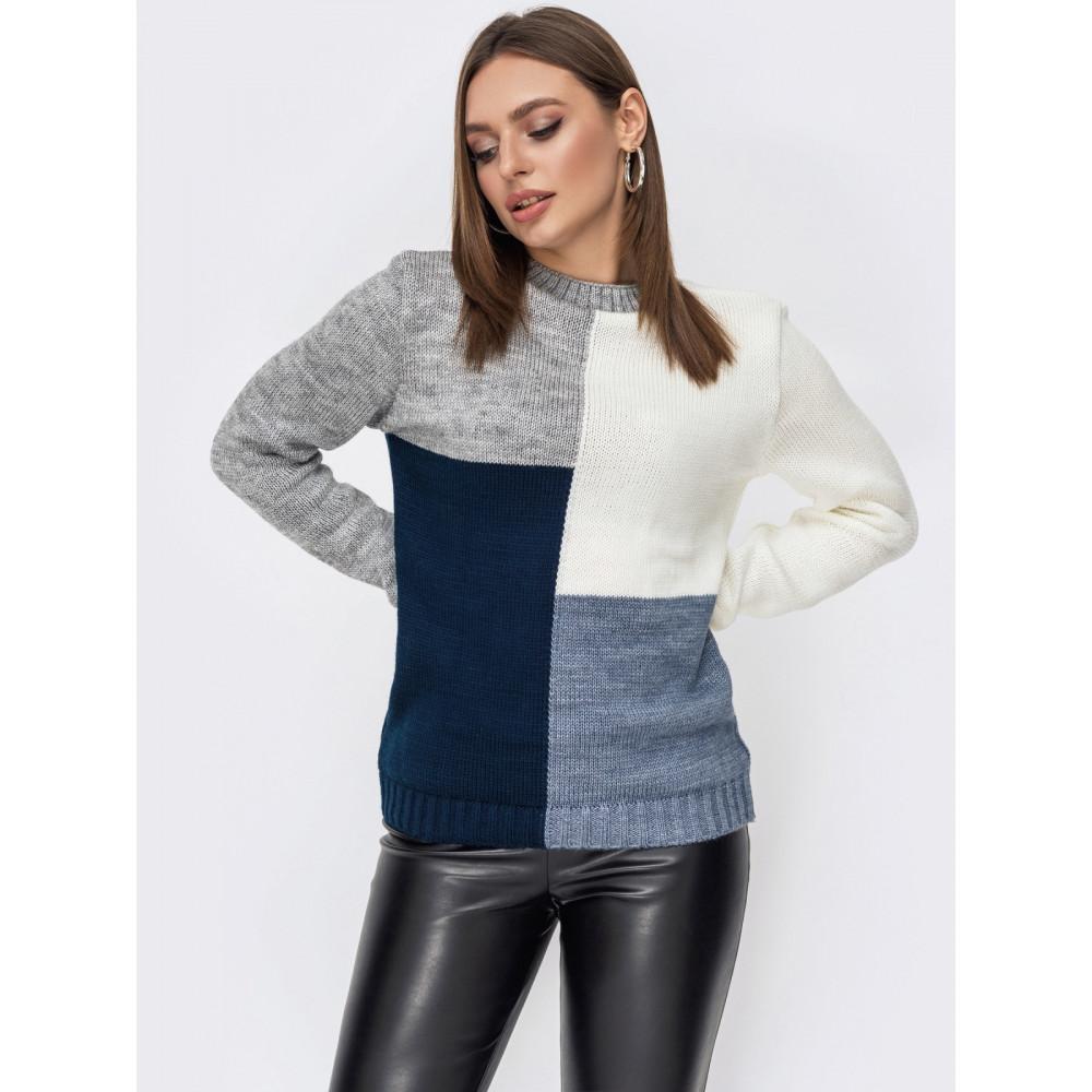 Комбинированный вязаный свитер Фрея фото 2