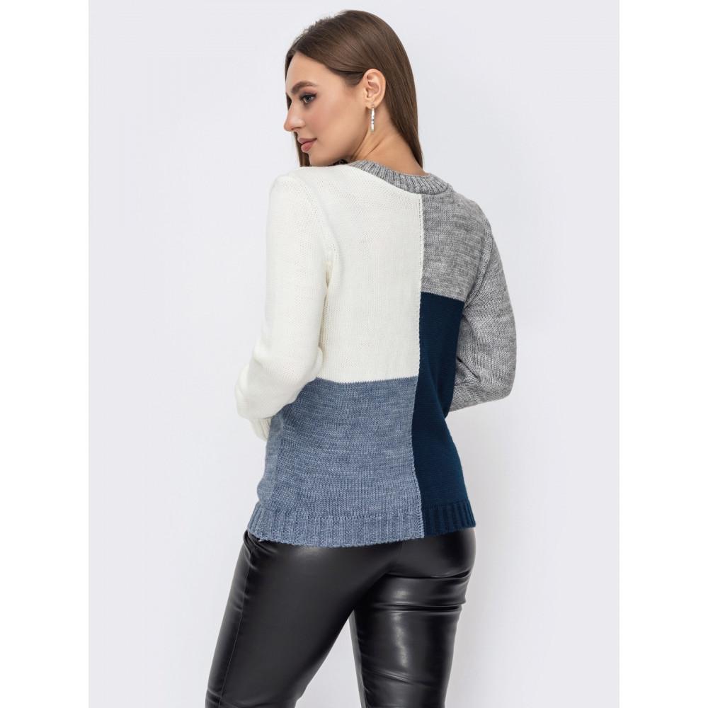 Комбинированный вязаный свитер Фрея фото 3