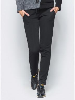 Черные зауженные брюки на меху