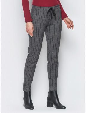 Теплые брюки из жаккарда в полоску