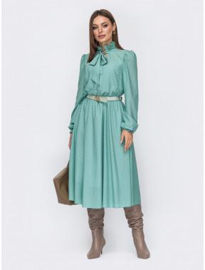 М'ятна романтична сукня в горох