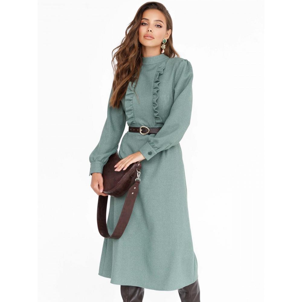 Зеленое расклешенное платье из кашемира фото 1