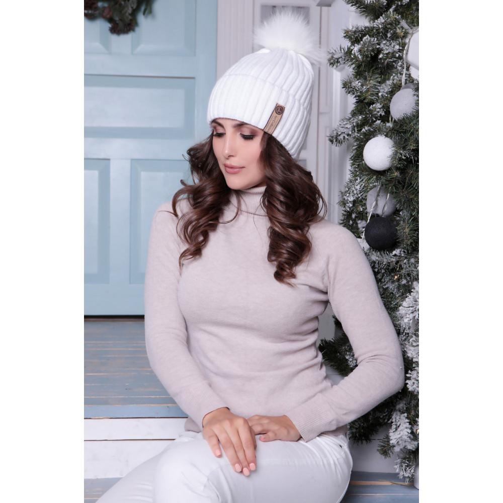Белоснежная теплая шапка Зара с помпоном фото 1