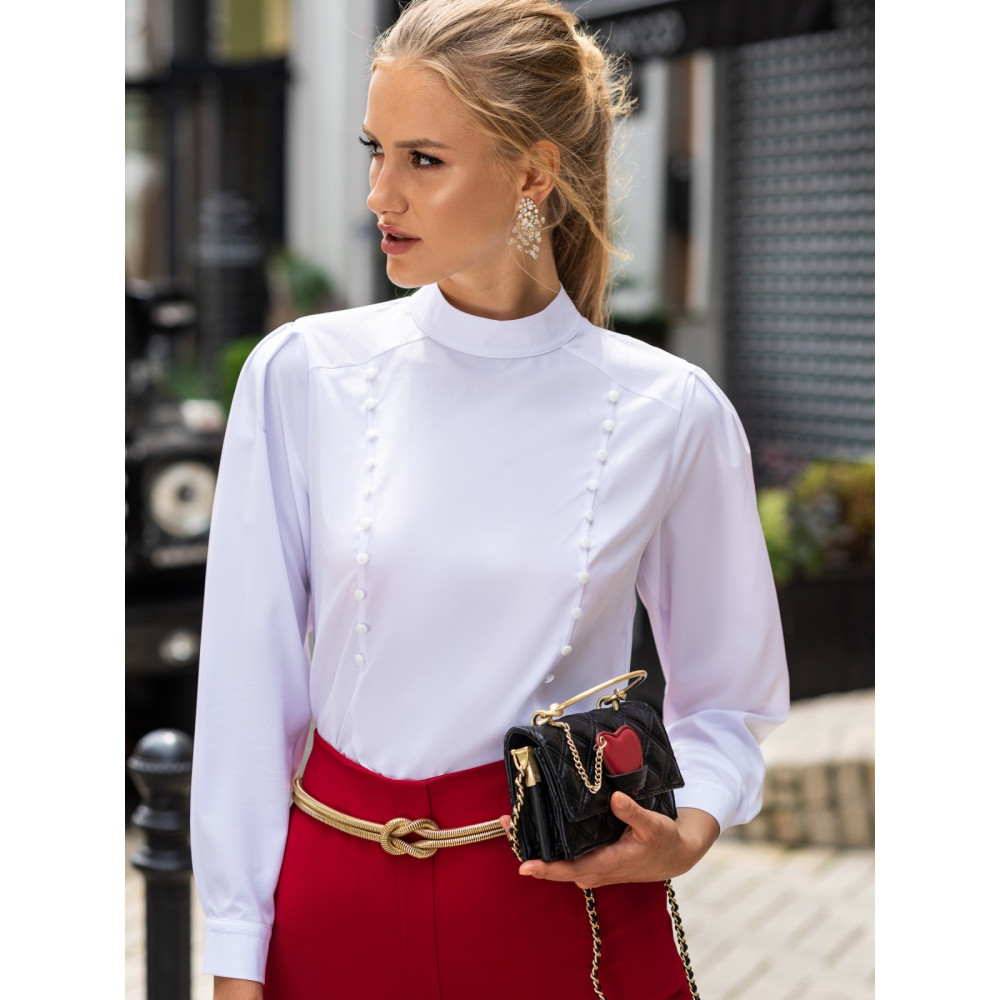 Лаконичная белая блузка Хилари фото 1