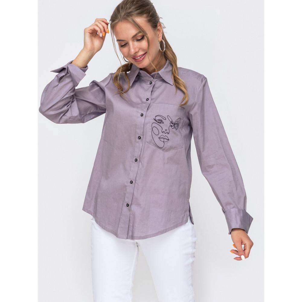 Серая рубашка с вышивкой Рут фото 1