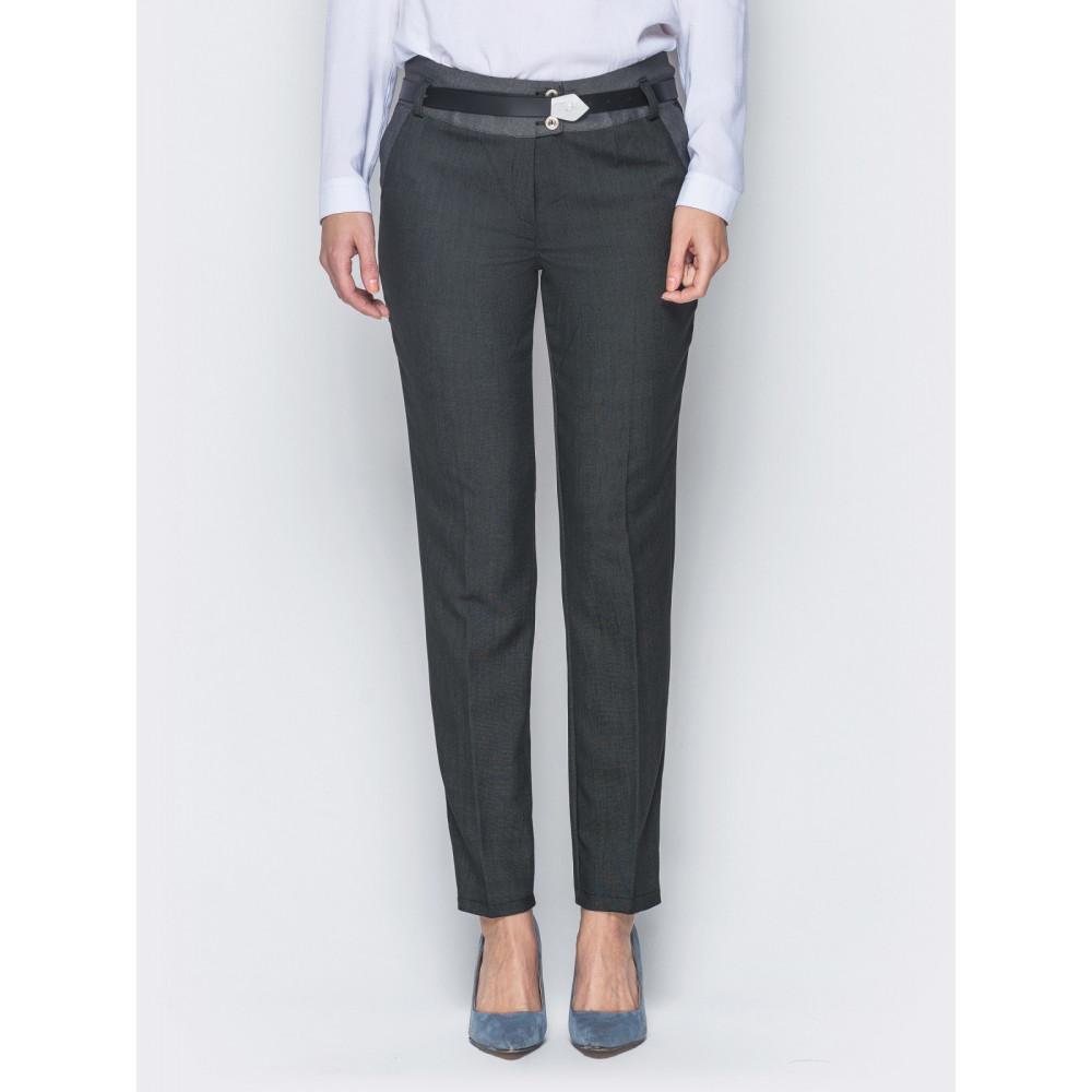Женские брюки со стрелками и кокеткой контрастного цвета фото 1