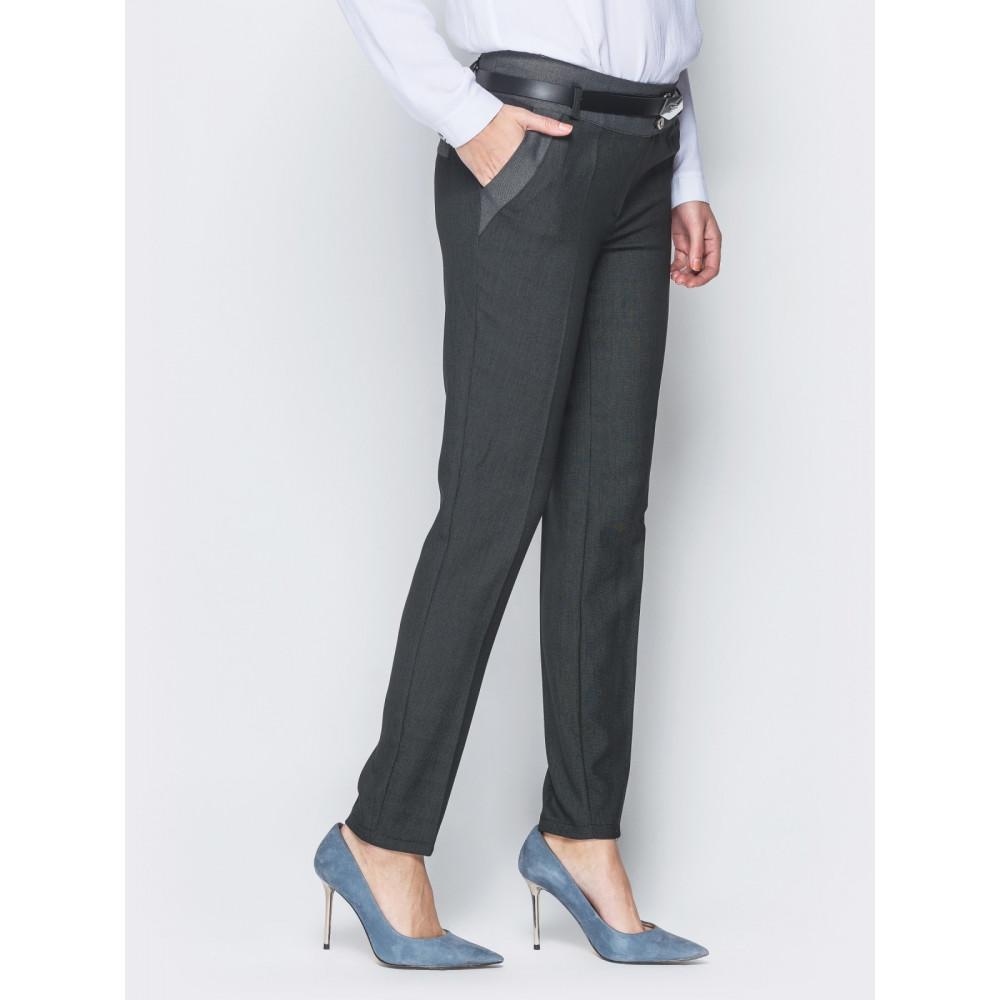 Женские брюки со стрелками и кокеткой контрастного цвета фото 2