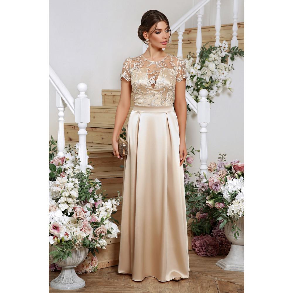 Нарядное бежевое платье-макси Лорена фото 1